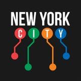 Diseño de la camiseta en el concepto de subterráneo de New York City Tipografía fresca con el mapa abstracto del subterráneo de N libre illustration
