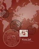 Diseño de la carta de vinos Foto de archivo libre de regalías