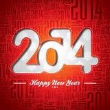 Diseño 2014 de la celebración de la Feliz Año Nuevo del vector en un fondo tipográfico Fotos de archivo libres de regalías