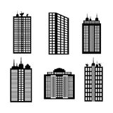Diseño de la ciudad icono del edificio Ejemplo blanco y negro, vector Imagen de archivo