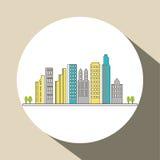 Diseño de la ciudad icono del edificio Ilustración aislada Foto de archivo libre de regalías