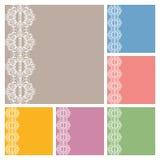 Diseño de la colección de las tarjetas de la invitación o de felicitación de la boda con el modelo del cordón, ejemplo ornamental Fotos de archivo libres de regalías