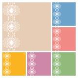 Diseño de la colección de las tarjetas de la invitación o de felicitación de la boda con el modelo del cordón, ejemplo ornamental Fotos de archivo
