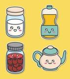 Diseño de la comida de desayuno de Kawaii Imagenes de archivo