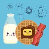Diseño de la comida de desayuno de Kawaii Imagen de archivo