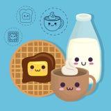 Diseño de la comida de desayuno de Kawaii Imágenes de archivo libres de regalías