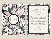 Diseño de la cubierta con el estampado de flores Flor creativa dibujada mano Fondo artístico colorido con el flor ilustración del vector