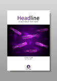 Diseño de la cubierta con las bacterias púrpuras con luminiscencia Vector de la ciencia Fotografía de archivo