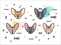 Diseño de la cubierta con los gatos y las formas geométricas libre illustration