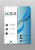Diseño de la cubierta de libro en azul Diarios, informes, conferencias Vector Foto de archivo libre de regalías