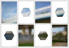 Diseño de la cubierta del folleto A4 con formas y máscaras geométricas en estilo minimalistic moderno Plantilla creativa del avia Foto de archivo libre de regalías