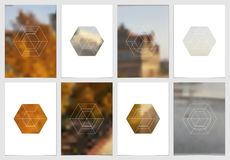 Diseño de la cubierta del folleto A4 con formas y máscaras geométricas en estilo minimalistic moderno Plantilla creativa del avia Imagenes de archivo