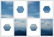 Diseño de la cubierta del folleto A4 con formas y máscaras geométricas en estilo minimalistic moderno Plantilla creativa del avia Imagen de archivo
