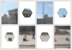 Diseño de la cubierta del folleto A4 con formas y máscaras geométricas en estilo minimalistic moderno Plantilla creativa del avia Fotos de archivo