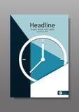 Diseño A4 de la cubierta del negocio con el reloj Vector Fotos de archivo libres de regalías