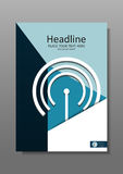 Diseño A4 de la cubierta del negocio con wi fi y tema de las TIC Informe anual Imágenes de archivo libres de regalías
