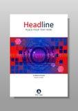 Diseño de la cubierta del rojo azul con HUD y los círculos futuristas Vector Fotos de archivo libres de regalías