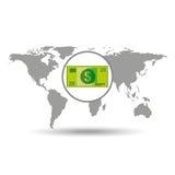 Diseño de la cuenta de dinero del comercio mundial del mapa Foto de archivo