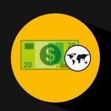 Diseño de la cuenta de dinero del comercio mundial del mapa Fotografía de archivo