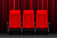 Diseño de la demostración del cine con los sitios vacíos rojos Cartel para el concierto, partido, teatro Sillas realistas para el stock de ilustración