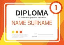Diseño de la disposición de la plantilla del fondo del certificado del diploma del amarillo anaranjado A4 Fotografía de archivo libre de regalías