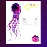 Diseño de la disposición del menú con el ejemplo violeta del vector del pulpo de la acuarela Fotografía de archivo libre de regalías