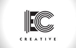 Diseño de la EC Logo Letter With Black Lines Línea vector Illus de la letra Fotos de archivo libres de regalías