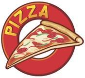 Diseño de la escritura de la etiqueta de la pizza Foto de archivo libre de regalías