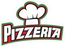 Diseño de la escritura de la etiqueta de la pizzería Foto de archivo