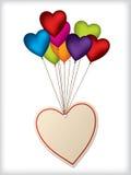 Diseño de la escritura de la etiqueta de la tarjeta del día de San Valentín con los globos Fotografía de archivo