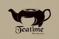 Diseño de la escritura de la etiqueta del Teatime Fotografía de archivo