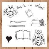 Diseño de la escuela con los búhos y los libros Fotos de archivo