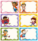 Diseño de la etiqueta con los muchachos en trajes stock de ilustración