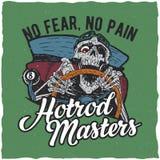 Diseño de la etiqueta de la camiseta de los amos de Hotrod Foto de archivo