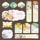 Diseño de la etiqueta de la tarjeta y del regalo de felicitación Fotos de archivo