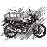 Diseño de la etiqueta de las motocicletas con la motocicleta dibujada mano para los carteles, Imagen de archivo libre de regalías