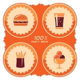 Diseño de la etiqueta de los alimentos de preparación rápida Fotos de archivo