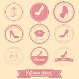 Diseño de la etiqueta de los zapatos de la mujer Imagen de archivo libre de regalías