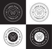 Diseño de la etiqueta del leñador Imagenes de archivo