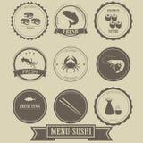 Diseño de la etiqueta del sushi del menú Imagen de archivo libre de regalías