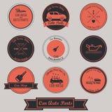 Diseño de la etiqueta del vintage de las piezas de automóvil del coche Imagen de archivo