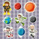 Diseño de la etiqueta engomada con los astronaunts y los planetas ilustración del vector