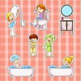 Diseño de la etiqueta engomada con los niños que hacen cosas en cuarto de baño ilustración del vector