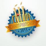 Diseño de la etiqueta engomada o de la etiqueta para el campeonato 2015 del grillo Foto de archivo