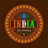 Diseño de la etiqueta engomada o de la etiqueta para la celebración india del día de la república Imagenes de archivo