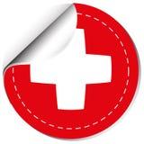 Diseño de la etiqueta engomada para la bandera suiza Fotografía de archivo