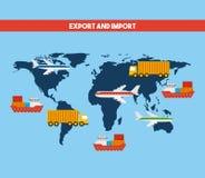 diseño de la exportación y de la importación Imagen de archivo