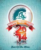Diseño de la Feliz Año Nuevo 2014 de VectorVector con el caballo Foto de archivo libre de regalías
