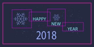 Diseño de la Feliz Año Nuevo del vector 2018 con el marco, el texto y el copo de nieve Imagen de archivo
