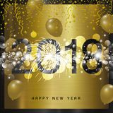 Diseño de la Feliz Año Nuevo 2018 en fondo del metal Fotos de archivo